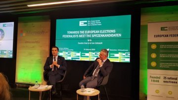 Federalist Sandro Gozi and conservative Jan Zahradil agree to disagree in UEF election debate