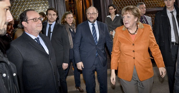 Hollande, Merkel et Schulz passent à table